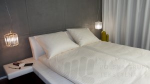 Poszwa hotelowa satynowa, paski 2cm, 150g/m2, 230TC, ECRU
