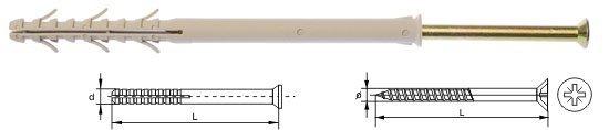 Kołki ramowe rozporowe wkręt krzyżowy 10x100 50szt