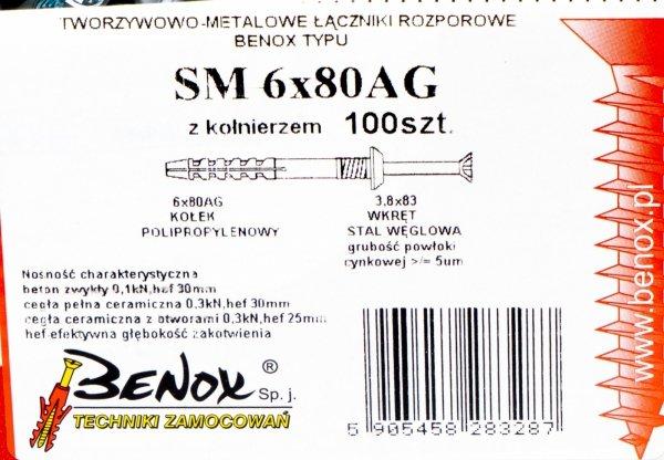 Kołki rozporowe 6x80 AG szybkiego montażu 100szt