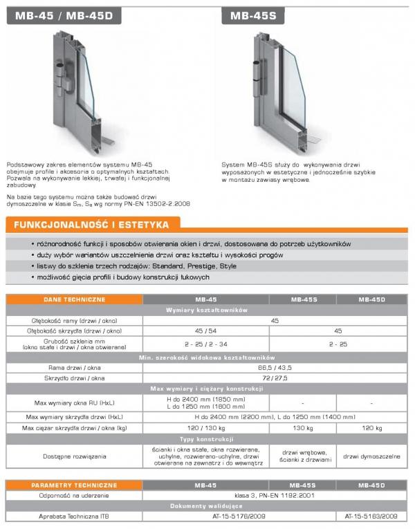 Drzwi aluminiowe 110x220 Aluprof MB45