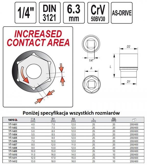 Nasadka Sześciokątna krótka 1/4-4mm YATO 1401 CRV