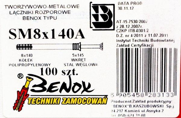 Kołki rozporowe 8x140 szybkiego montażu 100szt