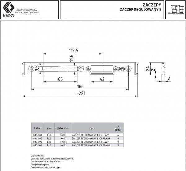 Zaczep KARO do zamka regulowany E-C6 6x24mm Lewy