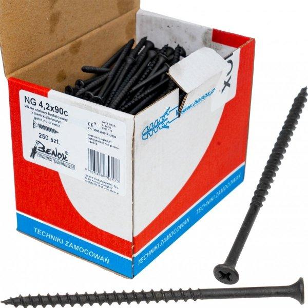 Wkręty czarne płyt gk karton gips/drewn 4,2x90 250szt. NGc