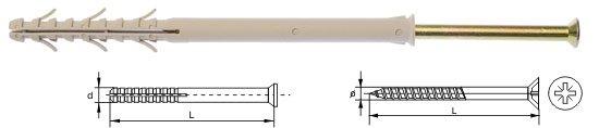 Kołki ramowe rozporowe wkręt krzyżowy 8x80 100szt