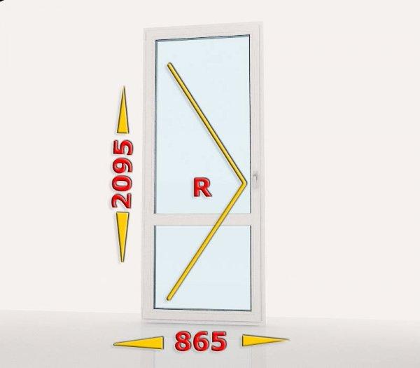 Drzwi balkonowe PCV 865x2095 rozwierne lewe białe