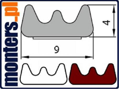 Uszczelka E 9x4 samoprzylepna biała (SD-40) 150m