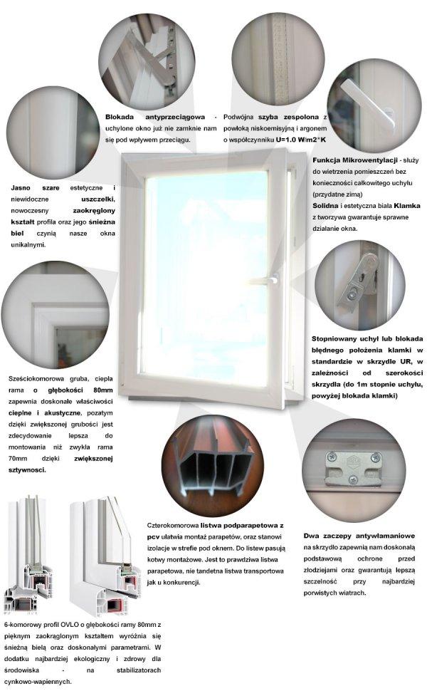 Okno PCV 1165x1435 uchylno-rozwierne lewe białe