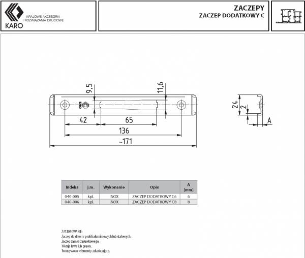 Zaczep dodatkowy KARO do zamka C6 6x24mm