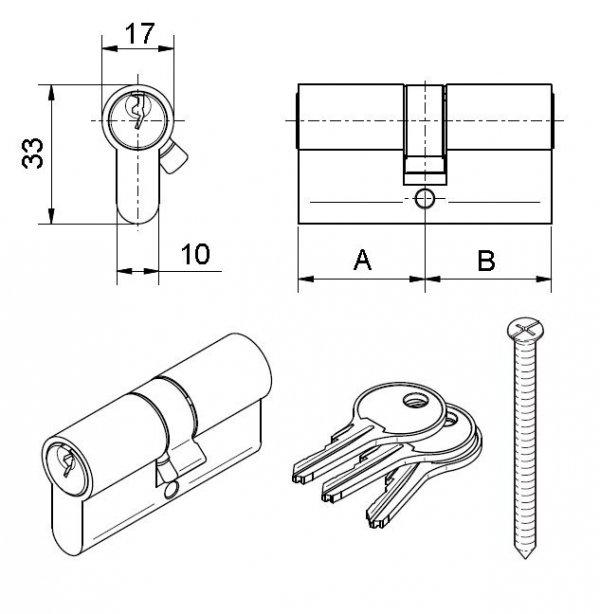Wkładka bębenkowa do zamka drzw Medos 35/50 nikiel