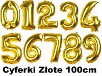 Balony Cyferki Złote 100cm