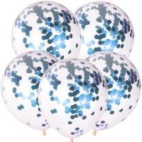 Balony Krystaliczne Z Chabrowym Konfetti [Zestaw - 100 sztuk]