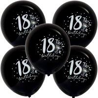 Balony 18th Birthday Kieliszek Czarne [Komplet - 5 opakowań]