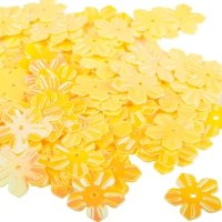 Cekiny Kwiatki Nacinane Żółte - [ Komplet - 20 sztuk]