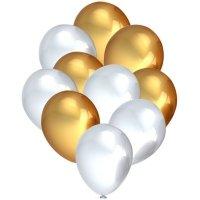 Balony Metalik Perłowe/Złoto [Komplet - 5 opakowań]