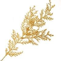 Gałązka Cyprys Brokatowa Złoto [Komplet 10 sztuk] 602948