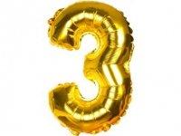 Balony Foliowe Cyferka 3 Złota 100cm - [ Komplet - 10 sztuk]