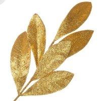 Gałązka Palma Brokatowa Złoto [Komplet 5 sztuk] 602945
