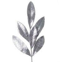 Gałązka Palma Brokatowa Srebro [Komplet 5 sztuk] 602945
