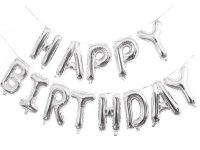 Balon Foliowy Happy Birthday Srebro [ Komplet - 5 szt]