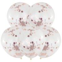 Balony z Konfetti Różowe Złoto [Komplet - 5 opakowania]