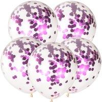 Balony z Konfetti Amarant [Komplet - 5 opakowań]