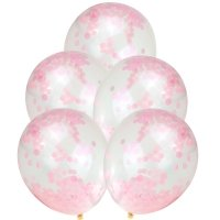 Balony z Różowym Konfetti [Komplet - 5 opakowań]