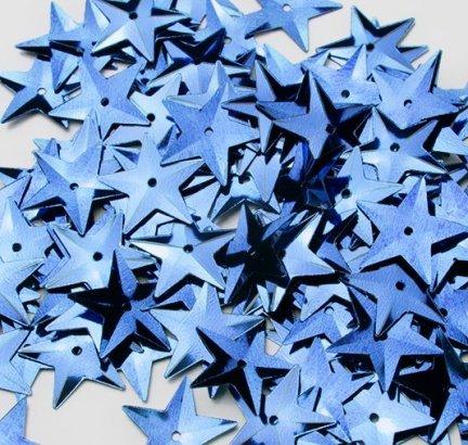 Cekiny Gwiazdki Duże 15mm Niebieskie - [ Komplet - 20 sztuk]