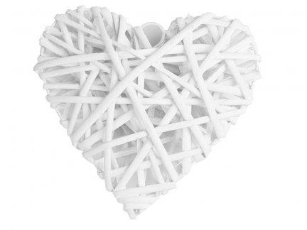 Serce Wiklinowe Białe 12cm [ Komplet 10 sztuk ]