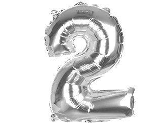 Balony Foliowe Cyferka 2 Srebrna 40cm - [ Komplet - 20 sztu]