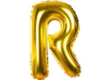 Balony Foliowe Literka R Złota 40cm - [ Komplet - 20 sztuk]