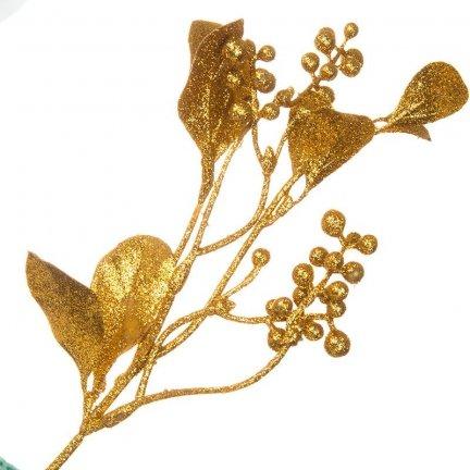 Gałązka Jemioła Brokatowa Złoto [Komplet 5 sztuk] 602922