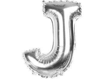 Balony Foliowe Literka J Srebrna 40cm - [ Komplet - 20 sztuk]