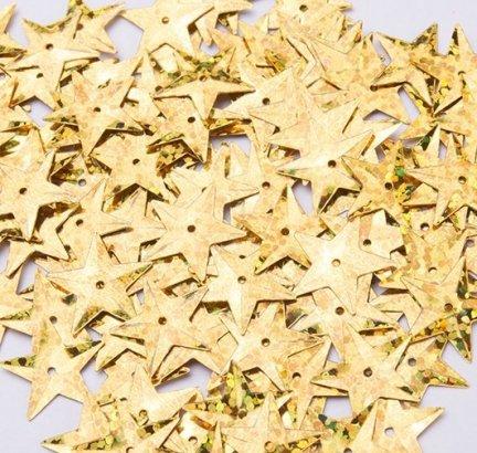 Cekiny Gwiazdki Duże 15mm Złoto Mieniące - [ Komplet - 20 sztuk]