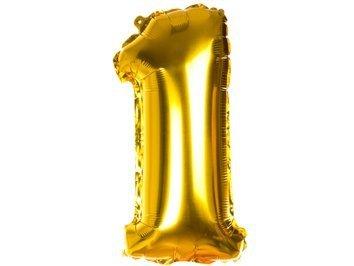 Balony Foliowe Cyferka 1 Złota 70cm - [ Komplet - 10 sztuk]