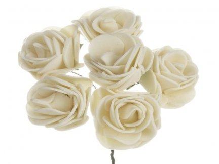 Różyczki z Pianki Ecru 6szt [Komplet 12 pęczków]