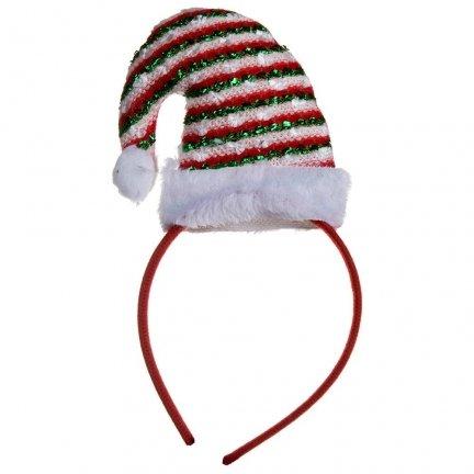 Opaska Świąteczna Czapeczka Paski [Komplet 12szt]