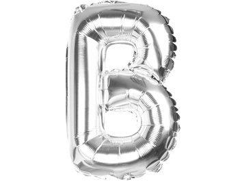Balony Foliowe Literka B Srebrna 40cm - [ Komplet - 20 sztuk]