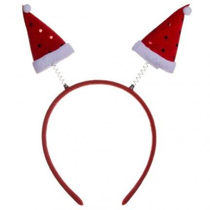 Opaska Świąteczna Sprężynka Czapeczki [Komplet 12szt]