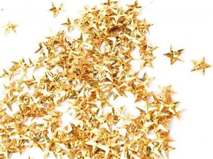 Cekiny Gwiazdki Małe 10mm Złoto Mieniące - [ Komplet - 20 sztuk]