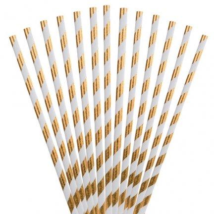 Słomki Papierowe Paski Złote 25szt [Komplet - 4 opakowania]
