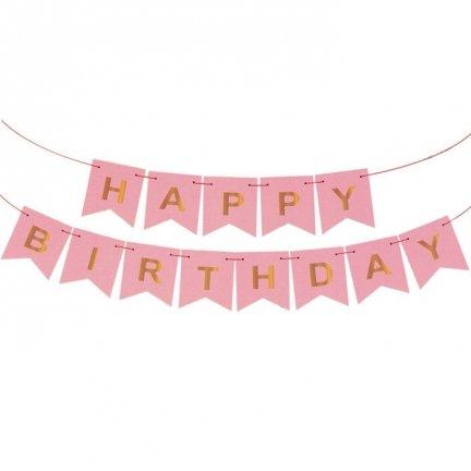 Baner Happy Birthday Różowy Złote Litery [Komplet - 4 sztuki]