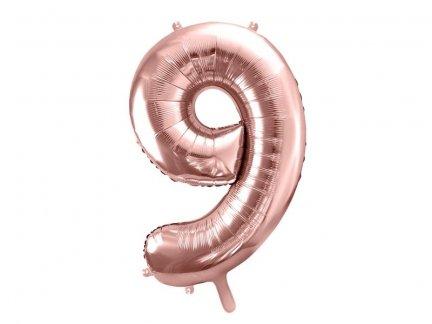 Balony Foliowe Cyfra 9 Różowe Złoto 66cm [ Komplet 10szt ]