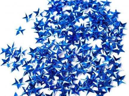 Cekiny Gwiazdki Małe 10mm Niebieskie - [ Komplet - 20 sztuk]