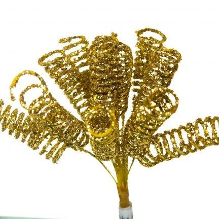 Dekoracja Sprężynki Brokatowe Złoto [Komplet 10 pęczków] 602950