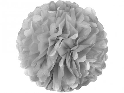 Pompony Papierowe Srebrne 25cm Małe [Komplet - 20 Sztuk]