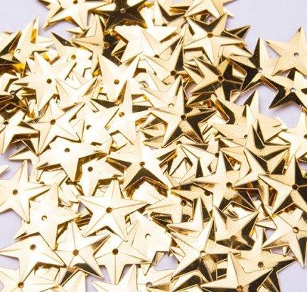 Cekiny Gwiazdki Duże 15mm Złoto  - [ Komplet - 20 sztuk]