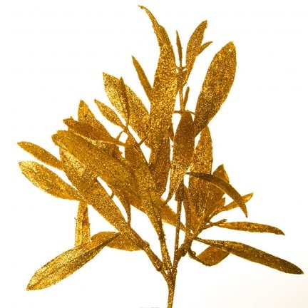 Liść Oliwka Brokatowy Złoto [Komplet 5 sztuk] 602934
