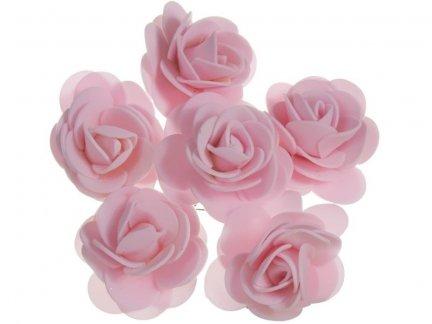 Różyczki z Pianki Jasny Róż 6szt [Komplet 12 pęczków]