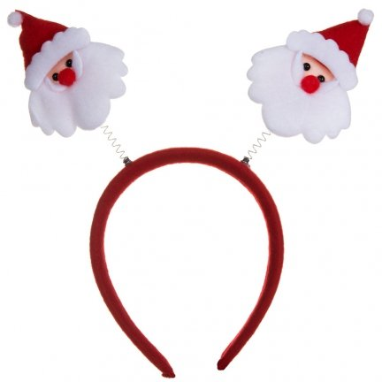 Opaska Świąteczna Sprężynka Mikołaje [Komplet 12szt]
